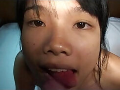 Asian petite gets her pussy toyed