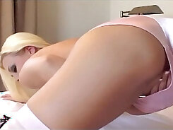 Busty office blond head gets fucked in thigh high stockings