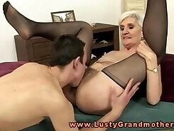 Blonde mature granny gets sexy feet licking