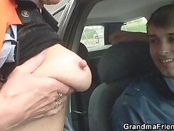 Blonde slut blows no hands and rides granny giant cock