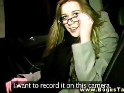 Amazing girl tries office blowjob in fake taxi