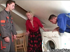 Bigboob granny chick gets her tight pussy fucked