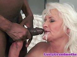 Blonde Granny Gets Interracial Fucked