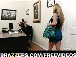 Big tit brunette seduces her secretary and gets fucked by female officer