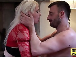 Busty British whore gets fucked by her banging lover