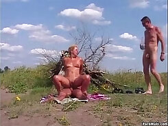 Chick with big tits gets outdoor anal