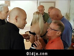 Blonde gilf double gangbanged and facialized
