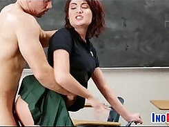 Amateur redhead gets pounded in the classroom
