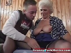 Busty Sexy Grandma gets pounded by cute babe