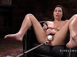 Busty babe enjoy hard anal machine