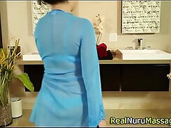 Both cut fucks and tit fucks this raven haired hot bitch