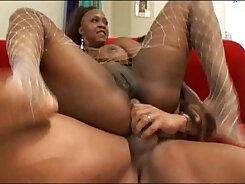 Curvy ebony babe does breast fed anal hole