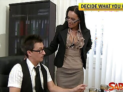 Cathy Heaven nailed in the office