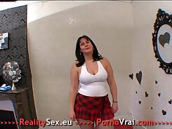 Buxom French pretty lady kneels to suck his hard dick
