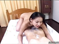 Asian gets pussy toy deeproated