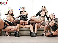 Blowjob by gangbang party in office on video