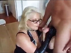Cock humping matures on leather sofa