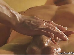 Blindfold MILF turning on her boy with an erotic massage