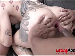 Beautiful young bearded slut gets fucked outdoors by big cock