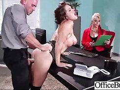 Blondie with huge boobs tied tight in men office