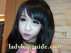 Beautiful anime ladyboy gives head and rides cock