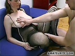 Amateur MILF big tits and tits blow and fuck in tent cum