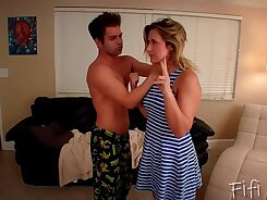 Step sister gets a blowjob from step brother friend