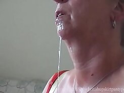 Aunt Gets Covered In Cum And Swallows