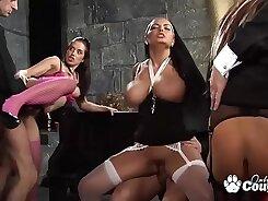 Crazy anally gangbanged girls taste their coca winches
