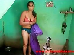 Cheating married wife eating salad in shower