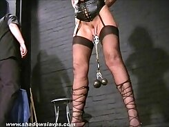 Blondie jerk off his Slave as he licks her soaking wet pussy