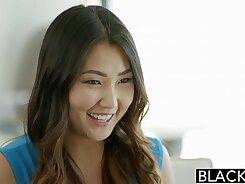 Asian babes enjoys a huge black cock